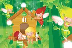 可爱卡通小天使矢量素材
