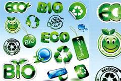 一组绿色水晶环保图标矢量素材