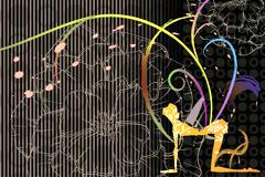 抽象花纹背景和女性人物剪影矢量素材