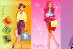 一组购物主题时尚美女插画矢量素材