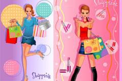 4款时尚购物都市女孩插画矢量素材