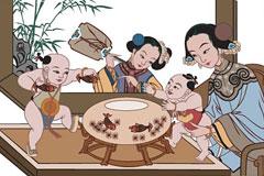 中国传统母子图矢量素材