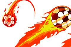 超酷火焰足球矢量素材