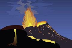 火山喷发景象矢量素材