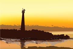 黄昏时分海岛上的灯塔矢量素材