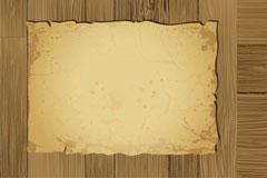 木板与破损牛皮纸卷怀旧风格背景矢量素材