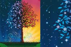 神奇的魔法树和潮流元素矢量素材
