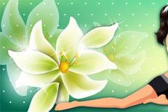 时尚运动女孩和梦幻花朵背景矢量素材