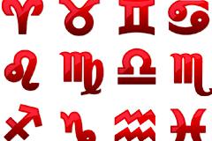 2组web风格十二星座图标矢量素材