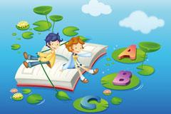 学习主题儿童卡通插画矢量素材