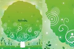 卡通绿色大树矢量素材