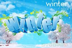 winter艺术字和冬季梦幻背景矢量素材