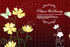 花开蝶舞古典花纹背景矢量素材