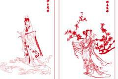 红楼梦之金陵十二钗红色线描矢量素材