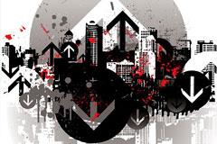 潮流城市建筑插画矢量素材