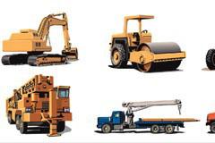 多款逼真的工地用重型机械车矢量素材