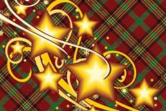金色节日装饰星星与布纹背景矢量素材