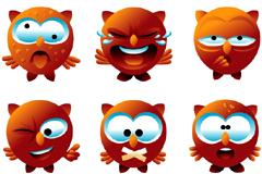 一组可爱卡通猫头鹰表情矢量素材