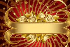 金色玫瑰流行banner背景矢量素材
