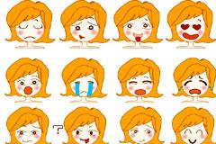 可爱女孩表情头像矢量素材