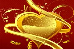 一款金色心形情人节海报矢量素材