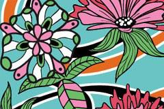 抽象手绘花卉背景矢量素材