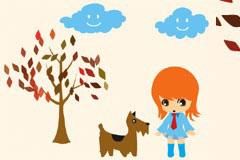 可爱小女孩和狗狗卡通矢量素材