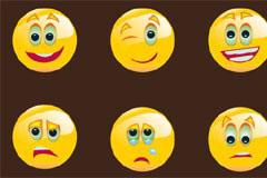 一组可爱圆形表情图标矢量素材