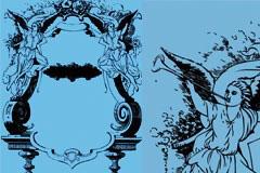 经典欧式天使潮流花纹装饰框架矢