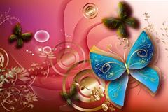 一款非常精美的蝴蝶植物背景矢量素材