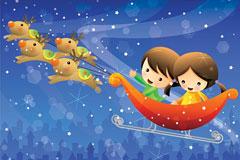 乘坐雪橇的快乐孩子们矢量素材