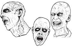 3款恐怖人物头像矢量素材