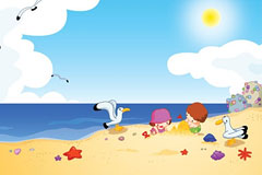 海边快乐玩耍的孩子们矢量素材