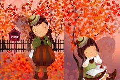 秋天主题可爱卡通女孩系列插画矢量素材