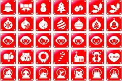一组精美的红色圣诞图标矢量素材