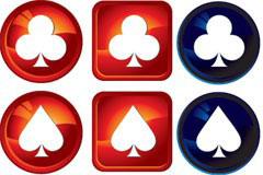 扑克牌图案水晶图标矢量素材