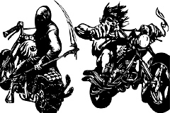 2款摩托车恶灵骑士插画矢量素材