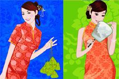 4款中国古典旗袍美女矢量素材