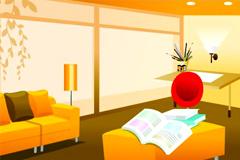 暖色调时尚室内家居矢量素材