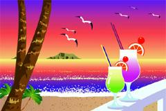 海滨度假风光矢量素材
