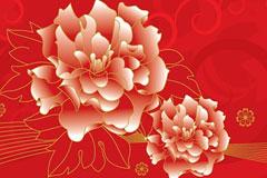 金边牡丹花卉背景矢量素材