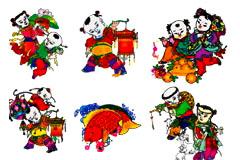 中国风格吉祥喜庆财神年画矢量素材