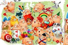 多款可爱的卡通猪矢量素材