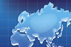 水晶质感世界地图矢量素材