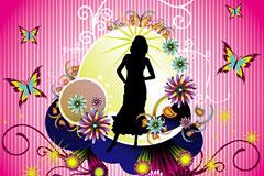 时尚花卉花纹和女性人物剪影矢量素材