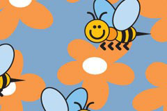可爱的小蜜蜂花朵背景矢量素材