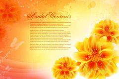 手绘金色花朵梦幻背景矢量素材