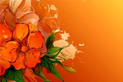 一款怀旧风格手绘花卉背景矢量素材