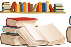 实用书本和书架矢量素材
