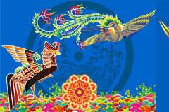 一款中国传统鸾凤齐鸣矢量图